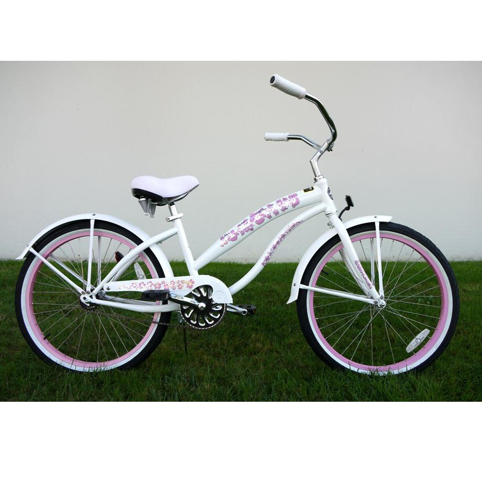 Greenline ladies 24 inch deluxe beach cruiser pearl white and pink