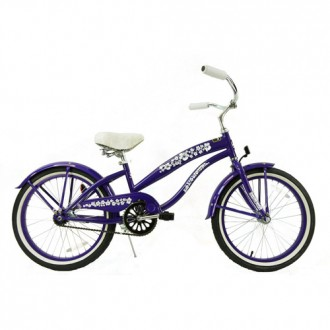 Girls 20 Inch Extended Frame Beach Cruiser Purple
