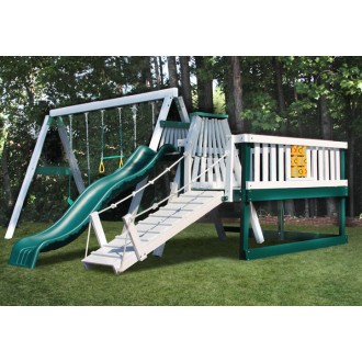 CONGO Swing'N Monkey 3 Position Swing Set With Play Deck - Green and White