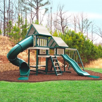 Monkey Play Set Package #3 Green and Sand - Shown with Optional Wood Roof, Rave Slide, and Back to Back Glider