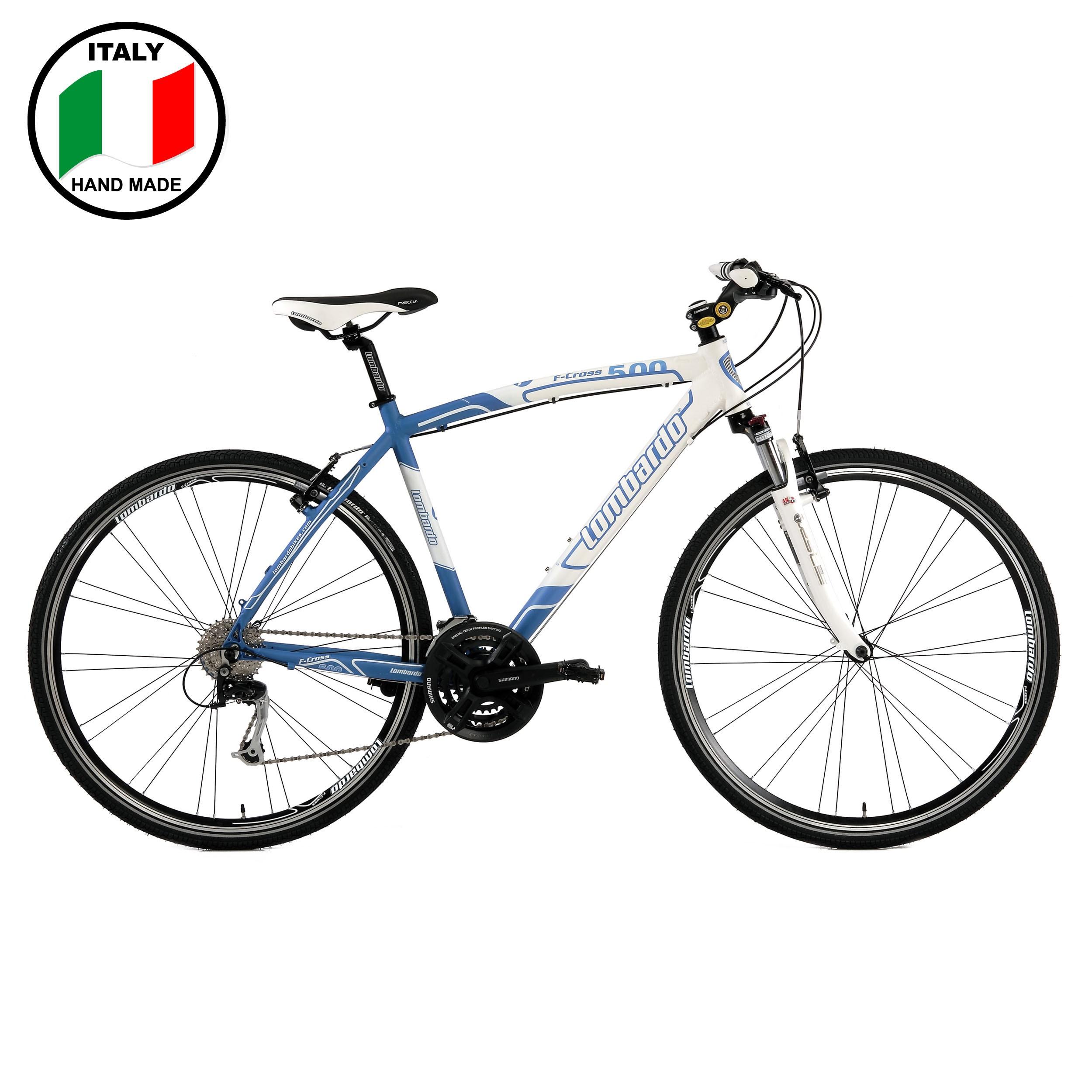 Lombardo f cross 500 mens 28 inch bike blue and white