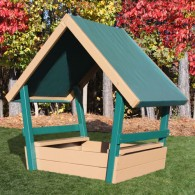 CONGO Kid Chalet Sandbox With Roof (GREEN and BROWN)