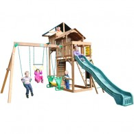 Funtime Auburn Hills Swing Set With 10 Ft Green Wave Slide
