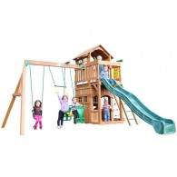 Funtime Madison Swing Set With 10 Ft Green Wave Slide