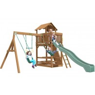 Playtime Spring Hill Swing Set With 10 Ft Green Wave Slide
