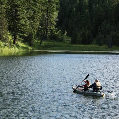 Lifetime 10 39 sport fisher tandem kayak od green for Lifetime fishing kayak