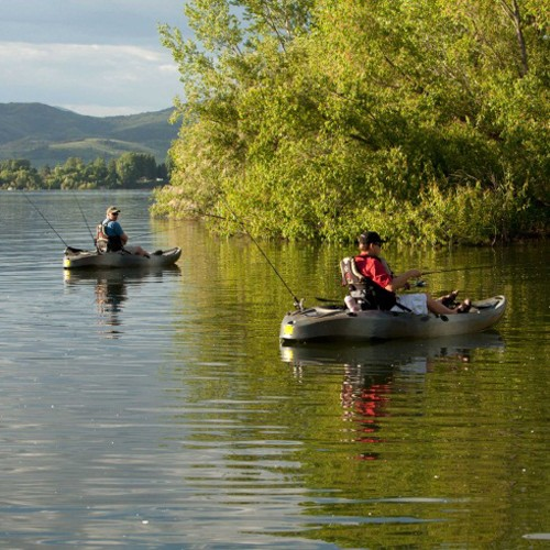 Lifetime 10 39 sport fisher tandem kayak camo paddles for Lifetime fishing kayak
