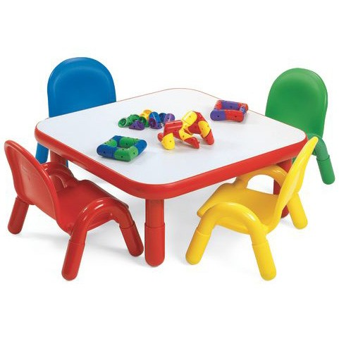 Angeles® Baseline® Toddler Square Table and 4 Chair Set, Natural and ...